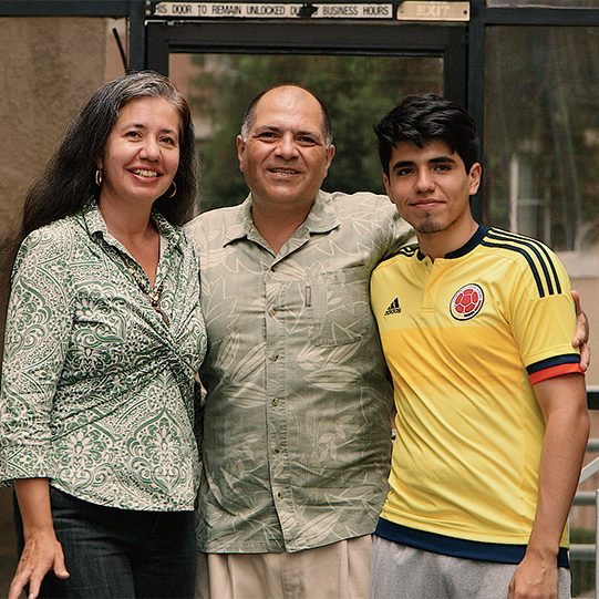 (L-R) Carmen Quinche, Leonardo Carrillo, David Carrillo